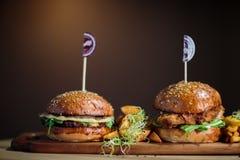 Twin Burgers Royalty Free Stock Photos