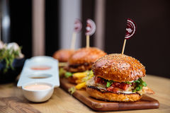 Twin Burgers Royalty Free Stock Photography