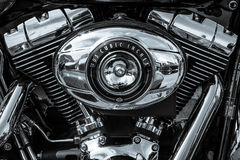 Twin Cam 103 engine closeup of motorcycle Harley Davidson Softail. BERLIN, GERMANY - MAY 17, 2014: Twin Cam 103 engine closeup of motorcycle Harley Davidson royalty free stock photos
