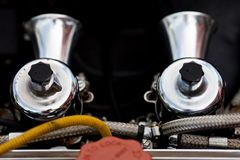 Twin carburetor Stock Photo