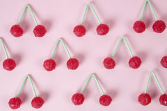 Twin Cherry Lollipops Stock Images