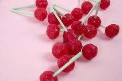 Twin Cherry Lollipops Stock Photo