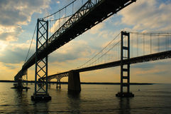 Twin Chesapeake Bay Bridges Royalty Free Stock Photography