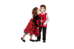 Twin Children Kissing Stock Images