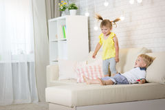 Twin children play Royalty Free Stock Photo