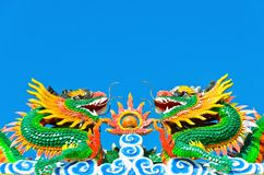 Twin chinese dragon in blue sky Royalty Free Stock Image