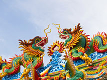 Twin Chinese Dragon on the roof royalty free stock image