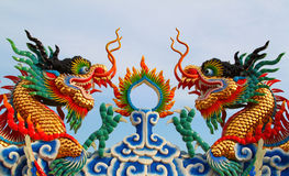 Twin Chinese Dragon Statue Stock Image