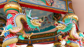 Twin Chinese dragons stock photo
