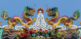 Twin Chinese dragons on roof Stock Image