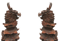 Twin Chinese model dragon (with Clipping Path) Royalty Free Stock Photos