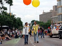 Twin Cities Gay Pride Parade. MINNEAPOLIS - JUNE 26:  Supporters of recent legislation in New York legalizing same-sex marriage march in the Twin Cities Gay Stock Photography