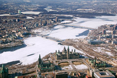 Twin cities Ottawa Ontario and Gatineau Quebec stock image