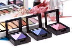 Twin colored eye shadow kits royalty free stock photos