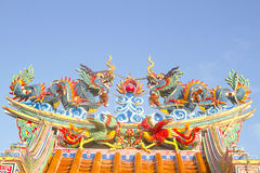 Twin colourful chinese dragons Stock Images