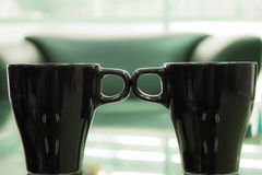 Twin cup is ceramic. For coffee Royalty Free Stock Photography