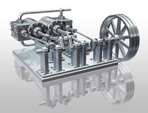 Twin cylinder steam engine Stock Photo