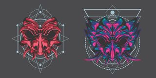 Twin demon mask pack. Demon mask design, the perfect logo for your brand, company, esport or whatever you need stock illustration