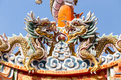 Twin dragon on Chinese temple roof Royalty Free Stock Image