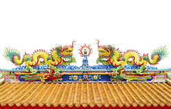 Twin dragon on chinese temple roof isolated on white background Royalty Free Stock Photography