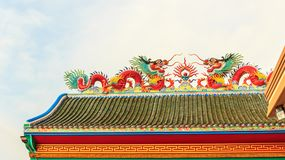 Twin dragon on chinese temple roof. Use for background Stock Photo