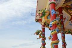Twin dragon pole Stock Photos