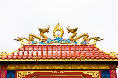 Twin Dragon on roof. Of Chinese temple,no potential trademark or copyright infringement in this photo Royalty Free Stock Photo