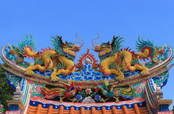Twin dragon on the roof Stock Photography