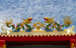 Twin Dragon statue Stock Photography