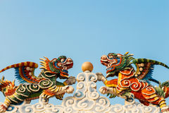 Twin dragon. The statue of twin dragon and marble ,Thailand Royalty Free Stock Images