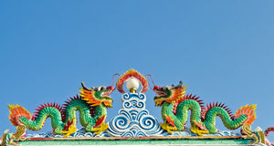 Twin dragon statues in Chinese style Royalty Free Stock Images