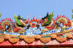 Twin dragon statues on chinese temple roof Stock Photography