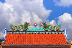 Twin dragon on the top. And blue sky Royalty Free Stock Photography