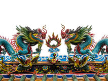 Twin dragon on top roof chinese temle Royalty Free Stock Images