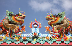Twin dragons. Dragon statue is commonly found in Chinese temples in Thailand Stock Photo