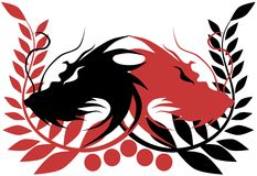 Twin dragons in red and black isolated Royalty Free Stock Photography
