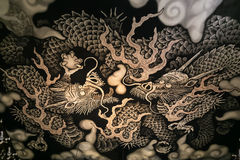 Twin Dragons painting at Kennin-ji temple in Kyoto Royalty Free Stock Photo