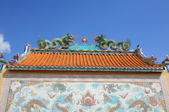 Twin dragons' sculpture and painting. Ornament: twin dragons' sculpture and painting at chinese temple stock images