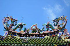 Twin dragons statue on Chinese temple roof Royalty Free Stock Photo