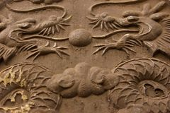 Twin dragons in stone relief. Two chinese dragons carved in stone relief and  facing one another Stock Photography