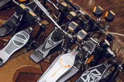 Twin drum pedals in rehearsal studio Stock Photography
