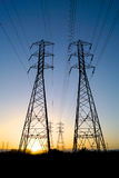 Twin Electric Power Lines Stock Photography