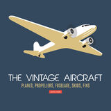 Twin engine passenger plane. For label and banners. Vintage style. Vector illustration Stock Photo