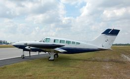 Twin engine turboprop. Cessna 402 twin engine propeller airplane Stock Photos