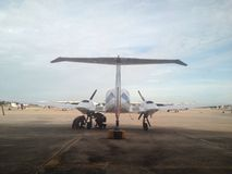 Twin engines plane. Twin engines aircraft in parking area Royalty Free Stock Photos