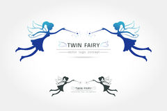 Twin Fairy flying logo. Vector icon cartoon style. Fairy black silhouette holding a magic wand with magic sparkle. Vector illustration of Fairy with a magic royalty free illustration
