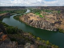 Twin Falls Golf Courses. View of the Snake River flowing between two golf courses at Twin Falls, Idaho Stock Photos