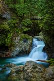 Twin Falls in Lynn Canyon Park, North Vancouver, Canada. Twin Falls in Lynn Canyon Park with footbridge, North Vancouver, Canada. Long exposure Royalty Free Stock Image