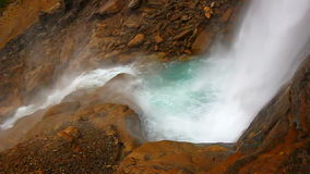 Twin Falls Yoho National Park. Cold water meets hard rock at the base of Twin Falls in Yoho National Park of Canada stock footage