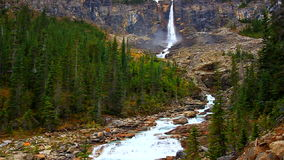 Twin Falls Yoho National Park. Twin Falls is set amidst the rugged cliffs of Yoho National Park in Canada stock video